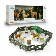 8pcs/set Farm Toys Animals Figures Model Fences Deers Farmer Layouts KidsToy