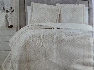 "Birch Manor Plush Faux Fur Queen Luxury Comforter Set Ivory 90"" x 90"" New"