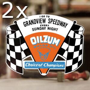 2x Stück Oilzum Grandview Speedway Aufkleber Sticker Old School Hot Rod Dragway