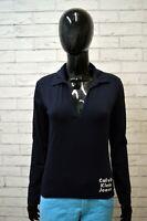 Maglia Blu CALVIN KLEIN Donna Taglia M Polo Manica Lunga Shirt Woman Jersey Frau