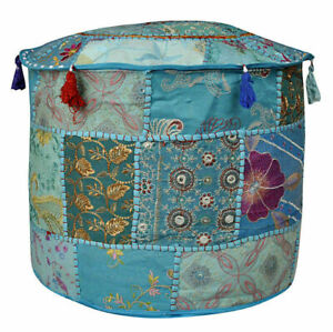 Indian Hippie Patchwork Ottomans Pouf Cover Embroidery Round Cover Home Decor