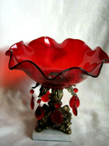Antique Ruby Red Ruffle Glass Brides Bowl Compote Prisms Brass Foot Marble Base