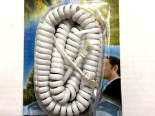 15ft. Modular Telephone Coiled Handset Cord Phone WHITE, 15', 15 Feet