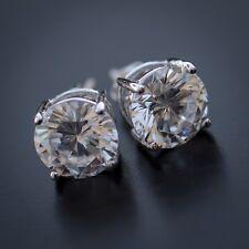 Cz Round Screw Back Stud Earrings Men's 14k Sterling Silver White Gold Iced