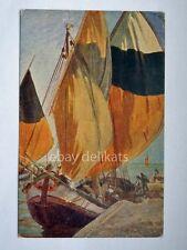 TRIESTE barca vela Palanti Porto nuovo sailing boat vecchia cartolina