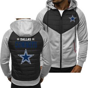 Dallas Cowboys Men Fans Hoodie Sporty Jacket Zip up Coat Autumn Sweater Tops