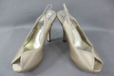 BNIB DIANE HASSALL 'PURE' CHAMPAGNE SILK DIAMONTE HEELED BRIDAL SHOES:SIZES2-7.5