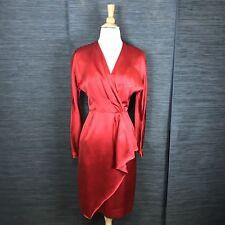 MURRAY ARBEID Princess Diana Vintage Red Silk V-Neck Long Sleeve Wrap Dress Sz 0