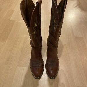 Vintage New Dan Post Womens Leather Mid Calf Brown Cowboy Western Boots Size 7.5