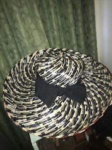 Lilly Dache Lord&taylor Huge Wide Brim Young Modes Black/red/white Straw Hat Bow