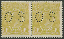 KGV - Single Wmk: 1924-38 (SG.083) 4d Olive Green, perforated 'OS' MUH