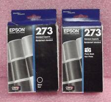 2 New Sealed Genuine Epson 273 Black Ink Cartridge PB 04/2019 & PBK 11/2018