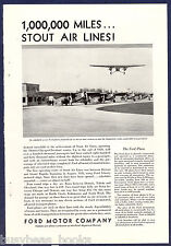 1930 FORD TRI-MOTOR airplane advertisement, STOUT AIR LINES Planes