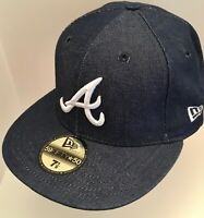 NEW ERA 59FIFTY Fitted Cap 5950 Atlanta Braves hat Washed Denim hat SIZE 7 1/8