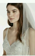 David's Bridal Beaded Edge Walking Veil, 17926V1, Ivory ($169.95)