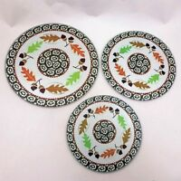 Retro SET 3 Oak AUTUMN Leaf GLASS Hot PAD Plates TRIVETS Orange LEAVES Brown NEW