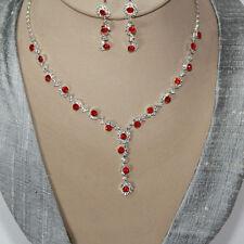Set Gioielli Y COLLIER ORECCHINI CRISTALLI strass collana argento rosso 39