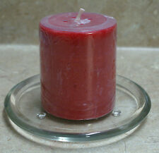 "1-Pillar Candle Plate-4-1/2"" D.Clear Glass For 2"" OR 3"" Candles (Up to 6"" Tall)"