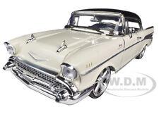 1957 CHEVROLET BEL AIR CREAM W/CUSTOM WHEELS 1/18 MODEL CAR BY MOTORMAX 79006