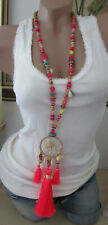 XXL Hippie Necklace Chain Tassel Beads Shell Bobble Festival Ibiza Neon &