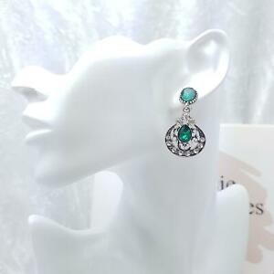 Green Crystal Glass & Silver Earrings Art Deco Vintage Style - Gatsby Sparkle