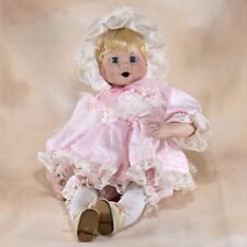"Dynasty Collector's Porcelain Baby Girl Doll 11"" Sitting Blond Blue Eyes"