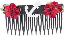 Sailor IVEY Anchor Anker Red Rose Vintage Pin Up HAARKAMM Hair Comb Rockabilly