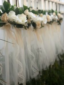 One Wedding Pew Bow Decoration Aisle Pew Decor Shabby chic Tulle Bow Champagne