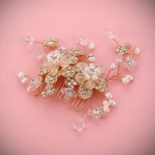 Gold Crystal Beaded Hair Comb Bridal Pearl Vine Wedding Headpieces for Brides