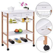 Rolling Wood Kitchen Trolley Cart Island Storage Basket Wine Rack w/ Drawers US
