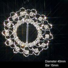 10 X SILVER ROUND FILIGREE DIAMANTE RHINESTONE RIBBON SLIDER BUCKLES WEDDING