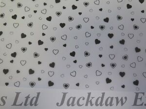 Printed Vellum Paper Black Hearts 10 x A4 110gsm Cardmaking Scrapbooking AM506
