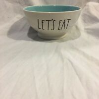 Rae Dunn Let's Eat Bowl  Artisan Collection Magenta Farmhouse Large Letter Blue