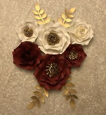 Paper Flowers set of 6 with leaves, Backdrop, Wedding, Nursery, Red, White, Gold
