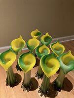 "Pier 1 Hand Blown Art Glass Calla Lily Bud Flower Vase Green Yellow White 12"""