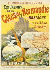 EXCURSIONS SUR LES NORMANDIE EN BRETAGNE French Travel Poster 250gsm A3 Print