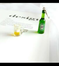 Heineken Beer Earrings Miniature Bottle Mug Jewellery Drop Dangling Unique Charm