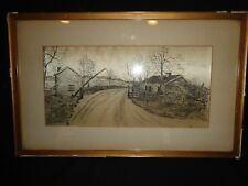 Antique 19th.c Pen & Ink Drawing on Silk of an Old Toll Road House, Painting, j
