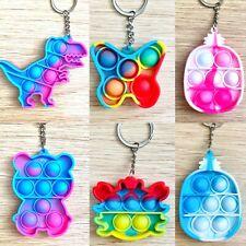 Keyring Pop Popper Fidget Toy Push Poppet Bubble Pop Teddy Stress Anxiety Relief