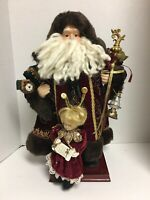 """Old World Santa Claus Father Christmas 17"""" Standing Figure Holding Gifts Lantern"""