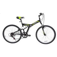 """26"""" Folding Mountain Bike Hybrid Bike 7 Speeds Full Suspension Bicycles Black"""