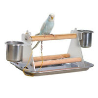 Bird Table Feeder with 2 Food Bowl for Parrot Macaw Perch Table Top Stand