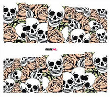 Nail Art Sticker Water Decals Transfers Halloween Skulls Roses (DC248)