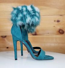 """CR Suzzy Furry Teal Ankle Strap Design 4.5""""  High Heel Shoes 7-11"""