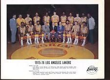 1975/1976 Los Angeles Lakers Team 8 1/2 X 11 Photo