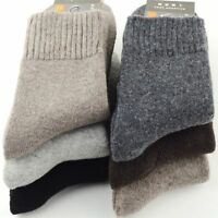 5 Pairs Mens Wool Cashmere Winter Thick Warm Solid Casual Sports Dress Socks Lot