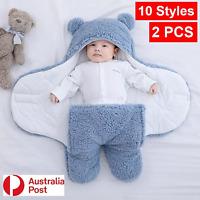 2PCS Baby Sleeping Bag Infant Swaddle Newborn Wrap Blanket Cloth Cotton 60-80CM