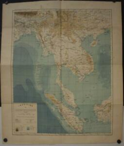 SINGAPORE INDONESIA SOUTHEASTERN ASIA 1887 RECLUS LARGE ANTIQUE LITHOGRAPHIC MAP