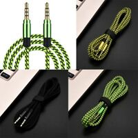 Braided Male to Male Aux 3.5mm Jack Stereo Audio Cable For Cell Phone 5Ft/10Ft