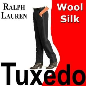 WOMEN'S POLO RALPH LAUREN WOOL TUXEDO PANTS MID RISE SILK STRIPE BLACK MSRP $328